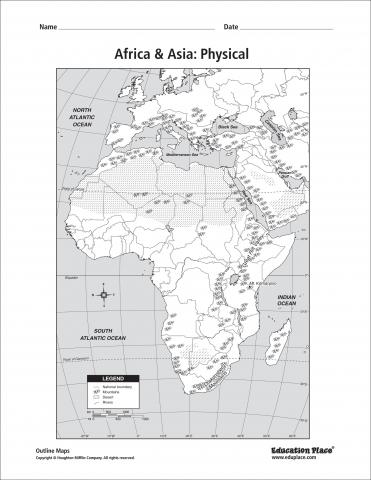 Outline of Phyiscal Map of Africa for lesson plans Understanding