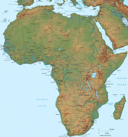 Africa Physical Map Understanding Horn Of Africa - Horn of africa map