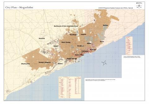 Mogadishu Africa Map.City Plan Mogadishu Unhcr Somalia Map Understanding
